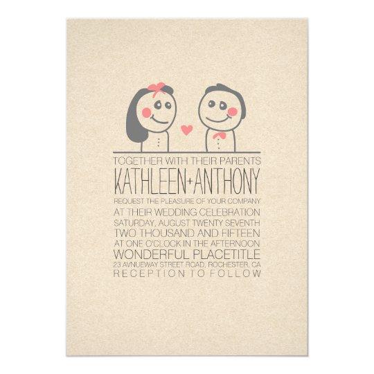 Cute couple modern wedding invitation