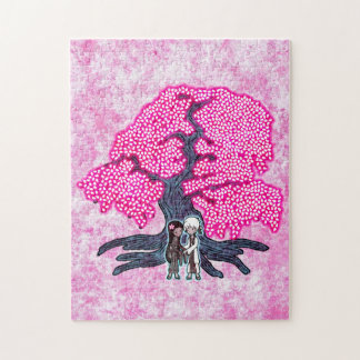 Cute Couple Under The Cherry Blossom Tree Jigsaw Puzzles