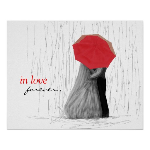 Cute Couple with Red Umbrella Art Poster
