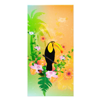 Cute coutan with tropical background photo card template