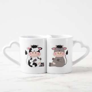 Cute Cow And Bull Cartoon Coffee Mug Set