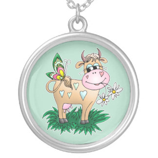 Cute Cow & Butterfly Silver Plated Necklace