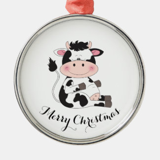 Cute Cow Cartoon Christmas Ornament