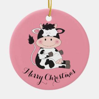 Cute Cow Cartoon Christmas Ornament