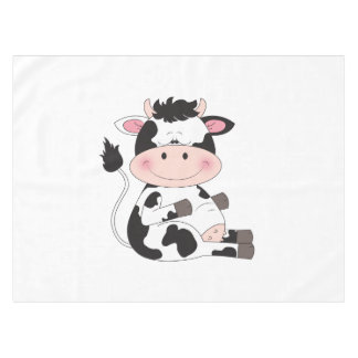 Cute Cow Cartoon Tablecloth
