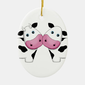 Cute Cow Couple Christmas Ornament