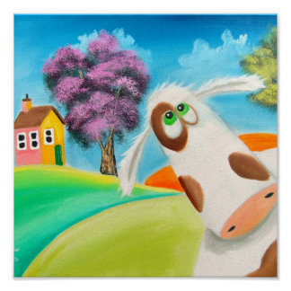 CUTE COW FACE Gordon Bruce art Poster