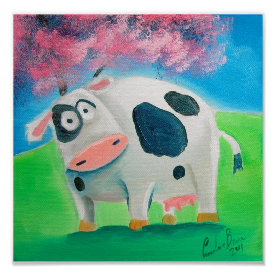 Cute cow folk art painting Gordon Bruce Poster