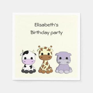 Cute cow giraffe hippo cartoon girl birthday paper napkin