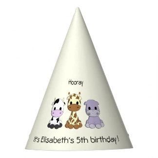 Cute cow giraffe hippo cartoon girl birthday party party hat