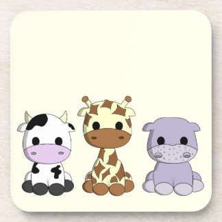 Cute cow giraffe hippo cartoon girl yellow coaster