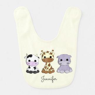 Cute cow giraffe hippo cartoon name baby bib
