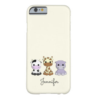 Cute cow giraffe hippo cartoon name kids barely there iPhone 6 case
