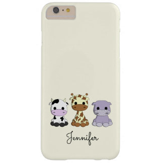 Cute cow giraffe hippo cartoon name kids barely there iPhone 6 plus case