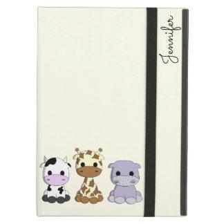 Cute cow giraffe hippo cartoon name kids iPad air cases