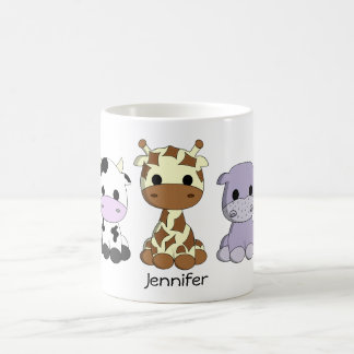Cute cow giraffe hippo cartoon name kids mug