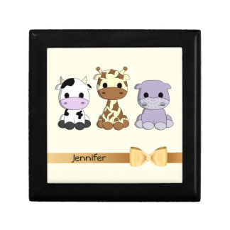 Cute cow giraffe hippo cartoon with bow baby small square gift box