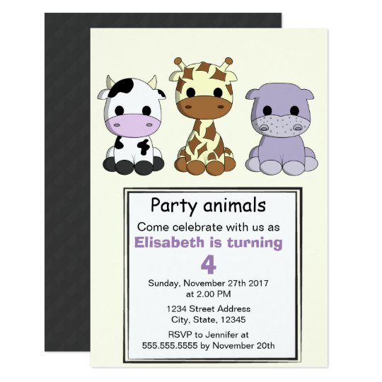 Cute cow giraffe hippo kids birthday party card