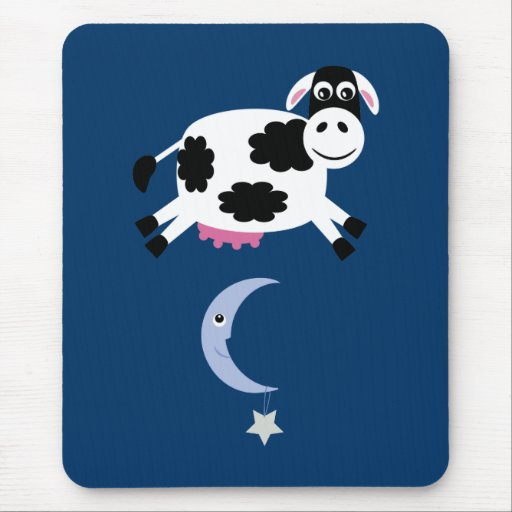 Cute Cow Jumped Over The Moon Mousemat Mouse Pad