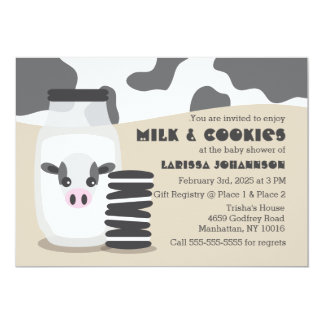 Cute Cow Milk and Cookies Baby Shower Invitations