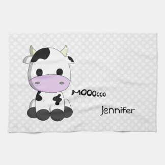 Cute cow polka dot customizable kitchen towel