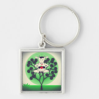 Cute Cow Silver-Colored Square Key Ring