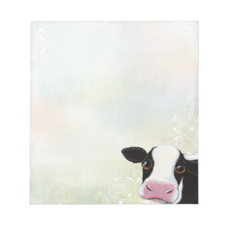 Cute Cow with Swirls & Rainbow Pastels Notepad