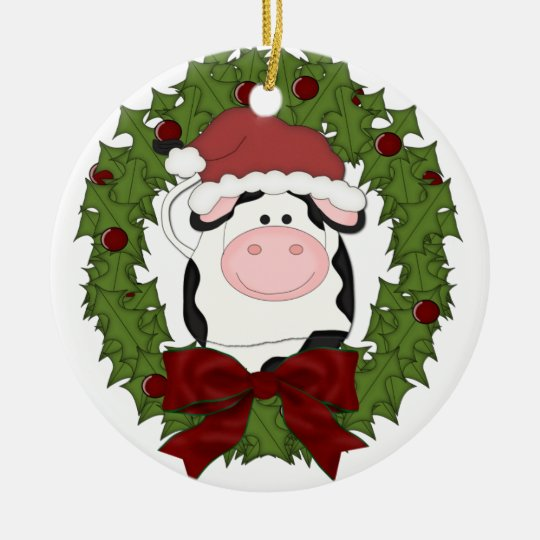 Cute Cow Wreath Christmas Holiday Tree Ornament