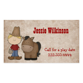 Cute Cowboy Custom Playdate Card Double-Sided Standard Business Cards (Pack Of 100)