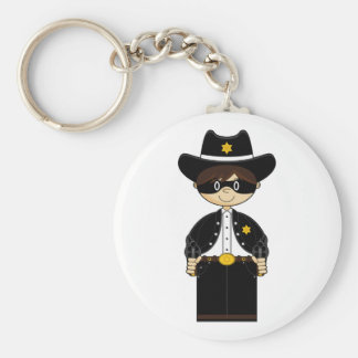 Cute Cowboy Gunslinger Keycahain Basic Round Button Key Ring