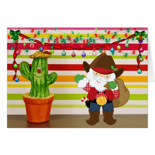 Cute Cowboy Santa and Cactus Southwest Christmas Card