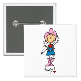 Cute Cowgirl Gift 15 Cm Square Badge