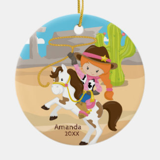 Cute Cowgirl Horseback Girl Christmas Ornament