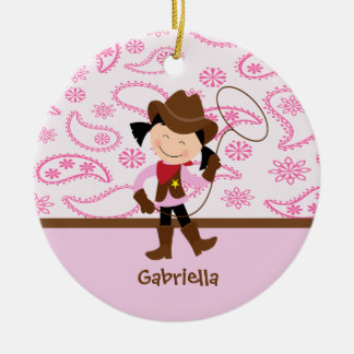Cute Cowgirl in Pink Ornament
