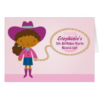 Cute cowgirl lasso girl's birthday party invite