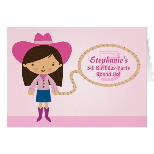 Cute cowgirl lasso girl's birthday party invite card