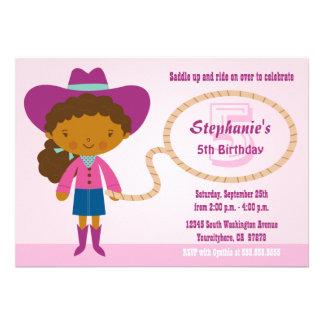 Cute cowgirl lasso girl's birthday party invite