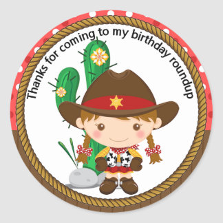 Cute Cowgirl Sheriff Birthday Classic Round Sticker