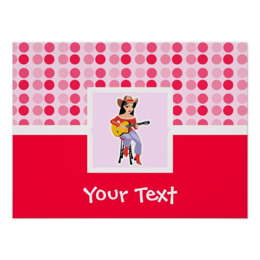 Cute Cowgirl with Guitar Poster