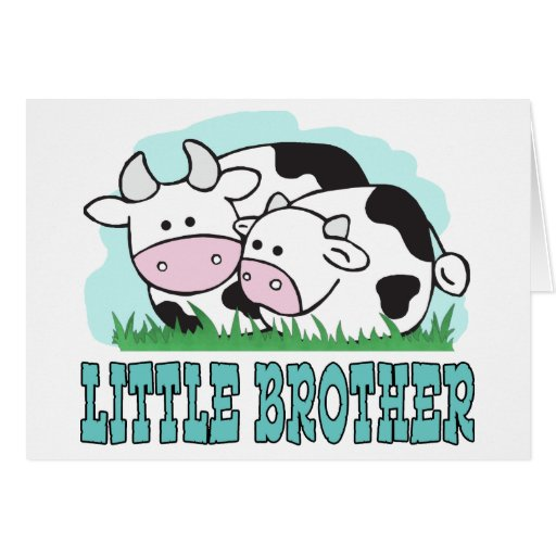 Cute Cows Little Brother Greeting Card