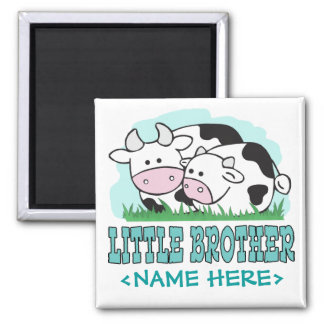Cute Cows Little Brother Square Magnet