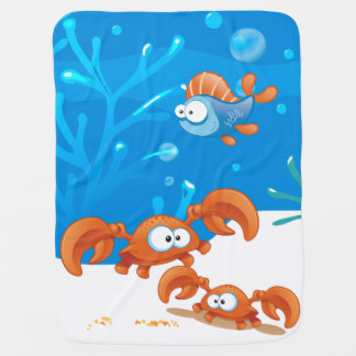 Cute Crab Ocean Aquatic Baby Blanket