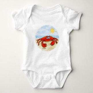 Cute crab on beach baby baby bodysuit