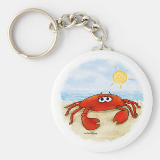 Cute crab on beach keychain