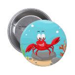 cute crab pinback button