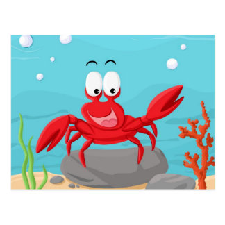 cute crab postcard
