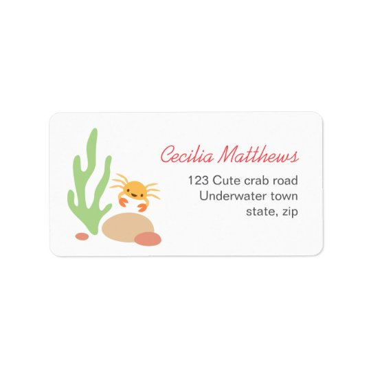 Cute crab seaweed and rocks sea underwater cartoon label