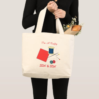 Cute Crafty Sew And Sew Large Tote Bag
