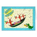Cute Crawfish and Alligator Happy Birthday Greeting Card
