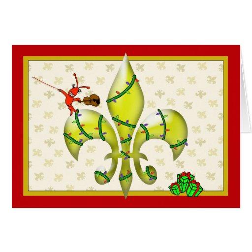 Cute Crawfish Fleur de Lis Christmas Greeting Cards